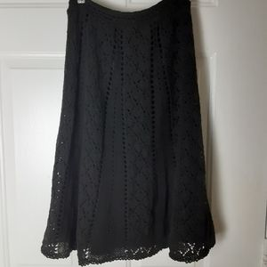 Ann Taylot LOFT eyelet knit midi skirt EUC sz 0